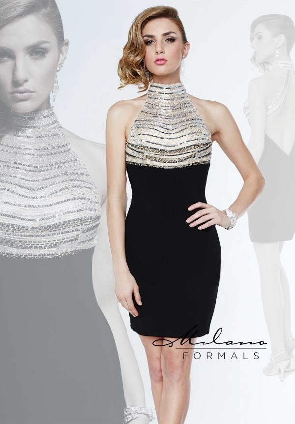Milano Formals Halter Top Beaded Dress E1875