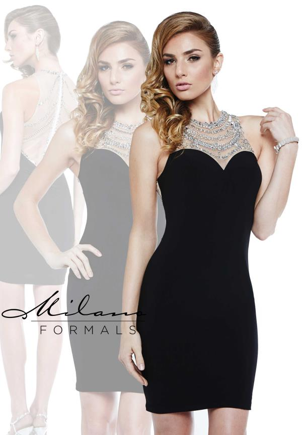 Milano Formals Black Short Dress E1895