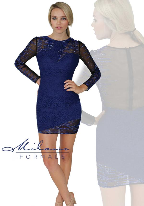Milano Formals Long Sleeved fitted Dress E1882