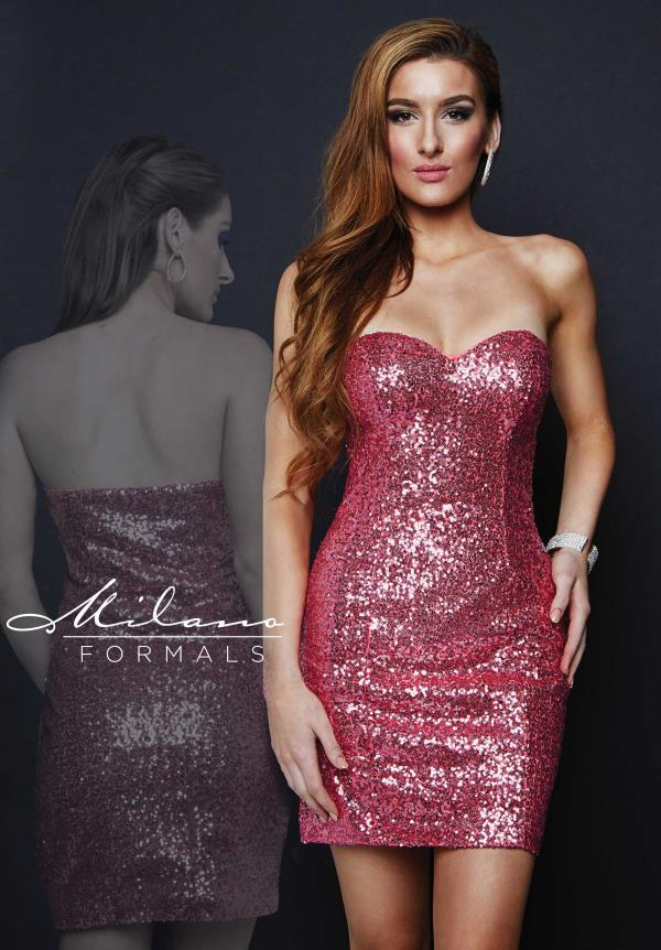 Milano Formals Pink Fitted Prom Dress E1670