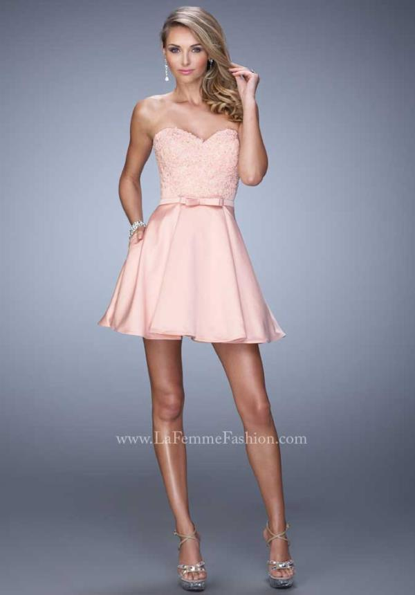 La Femme Short Lace Prom Dress 21881
