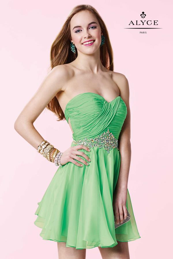 Strapless A Line Alyce Short Dress 3643
