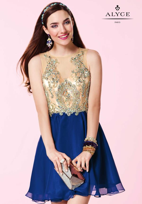 Alyce Short Beaded Chiffon Dress 3646