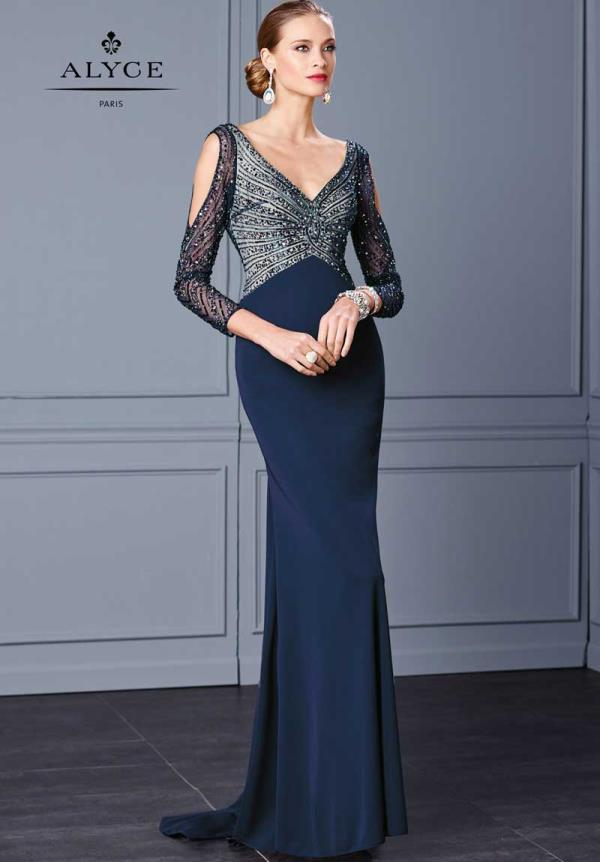 Alyce Paris Long Sleeved Navy Dress 5717