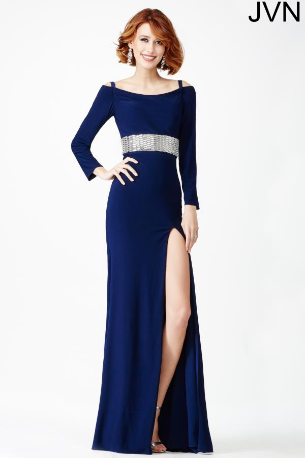 JVN by Jovani Navy Long Sleeved Dress JVN24744