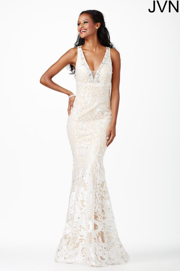 JVN by Jovani Long V- Neckline Dress JVN27623