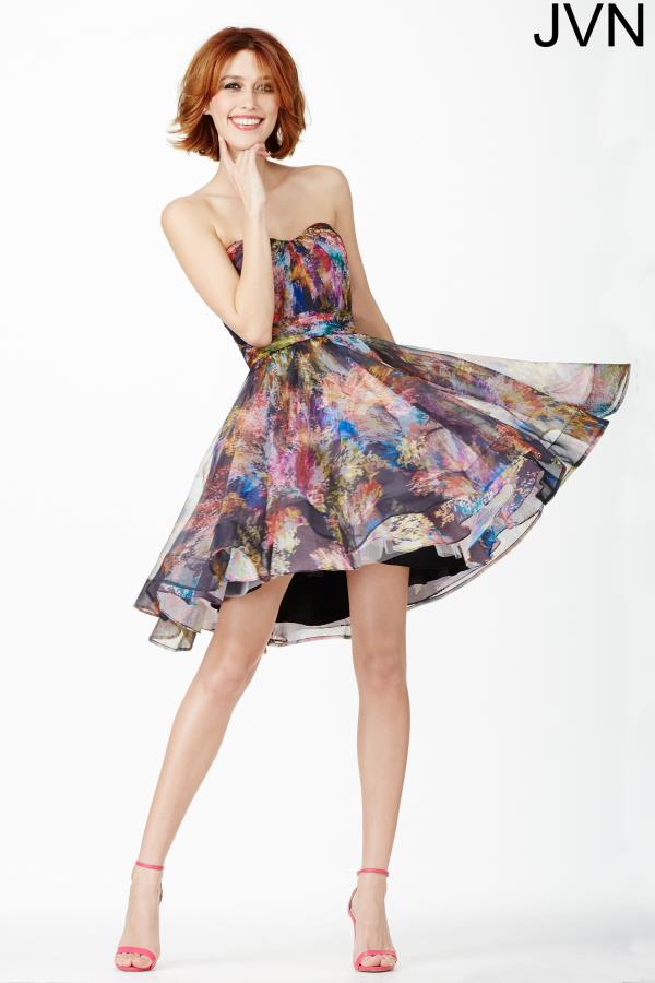 JVN by Jovani Print A Line Dress JVN32224