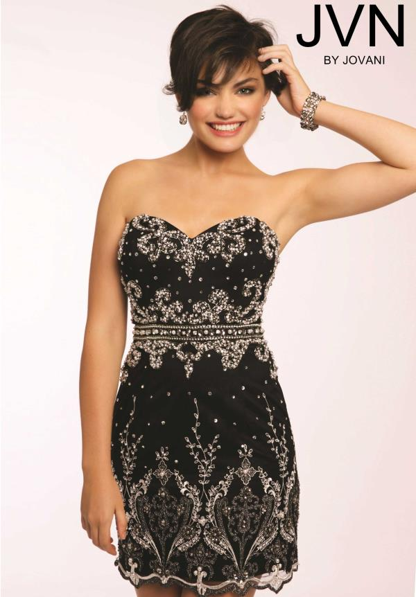 JVN by Jovani Black Fitted Dress JVN20468