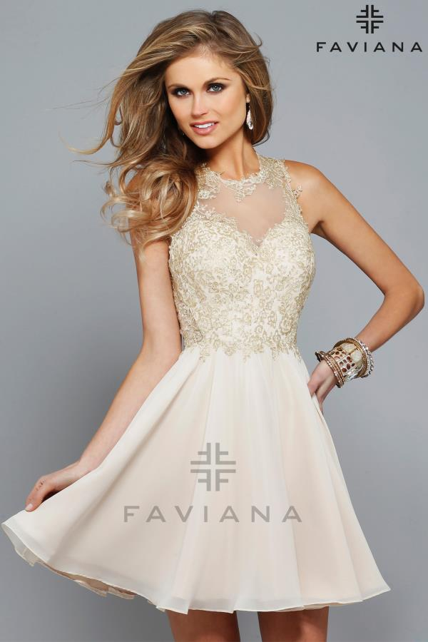 Faviana Lace High Neckline Formal Dress S7668