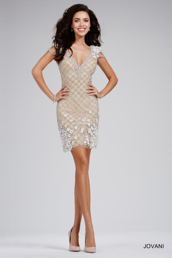 Jovani Cocktail Cap Sleeved Beaded Dress 21932