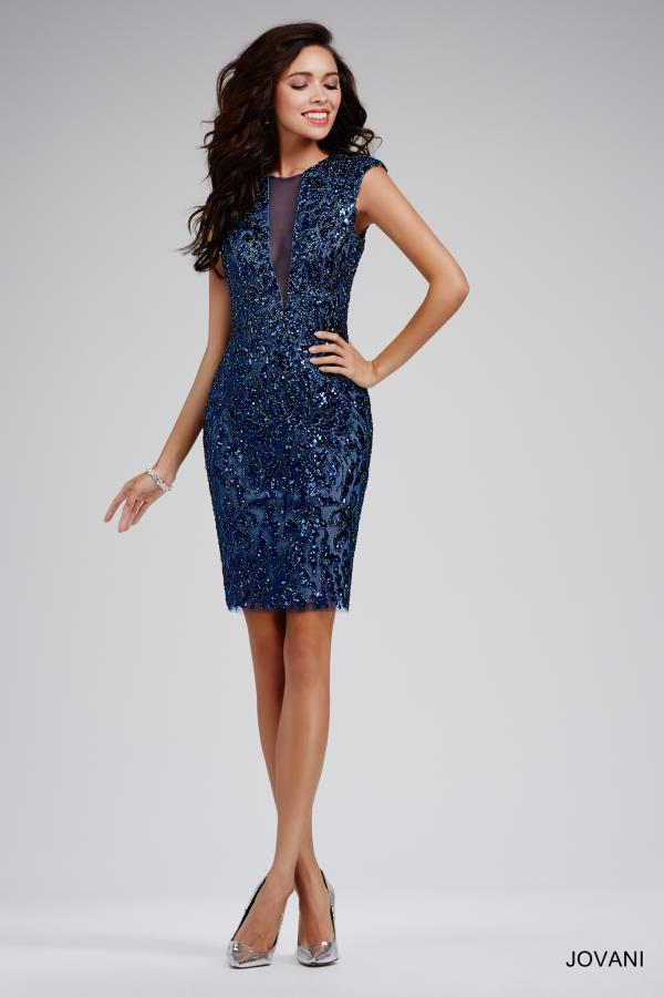 Jovani Cocktail Beaded Navy Fitted Dress 27857