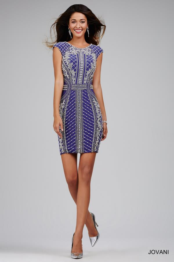 Cap Sleeved Beaded Jovani Cocktail Dress 28020