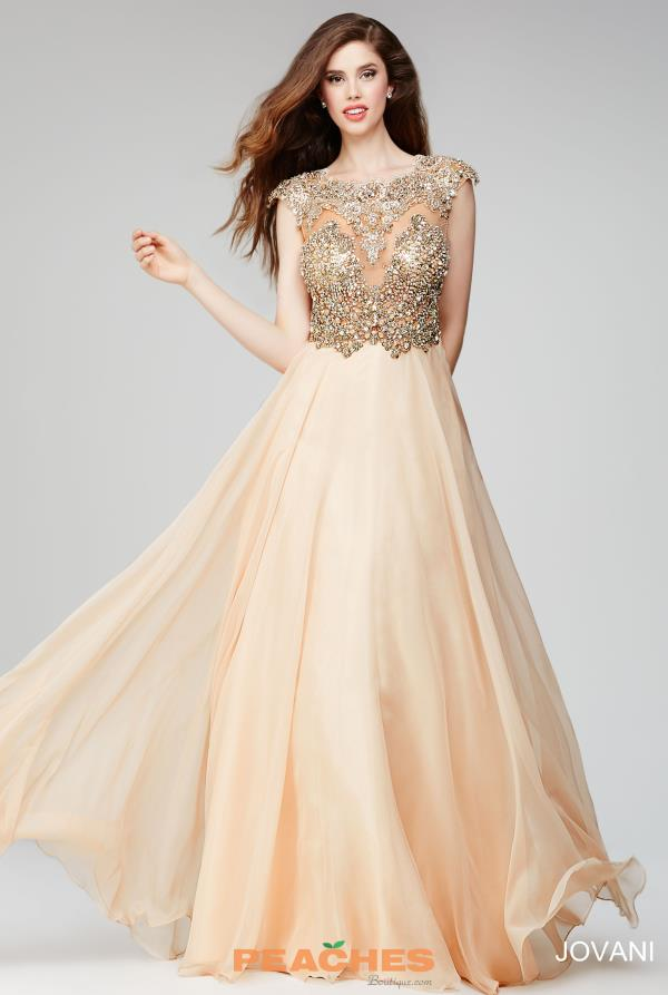 Cap Sleeved Beaded Jovani Nude Dress 22037