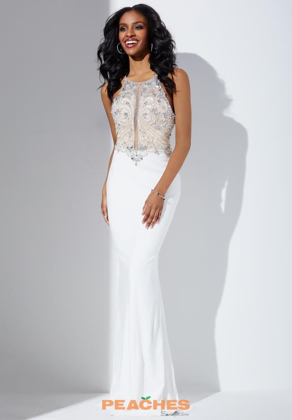 Jovani White Fitted Jersey Dress 33473