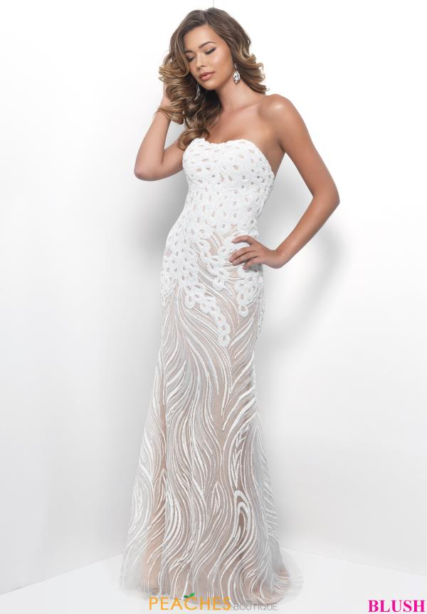Strapless Blush Winter Formal Fitted Dress 11242