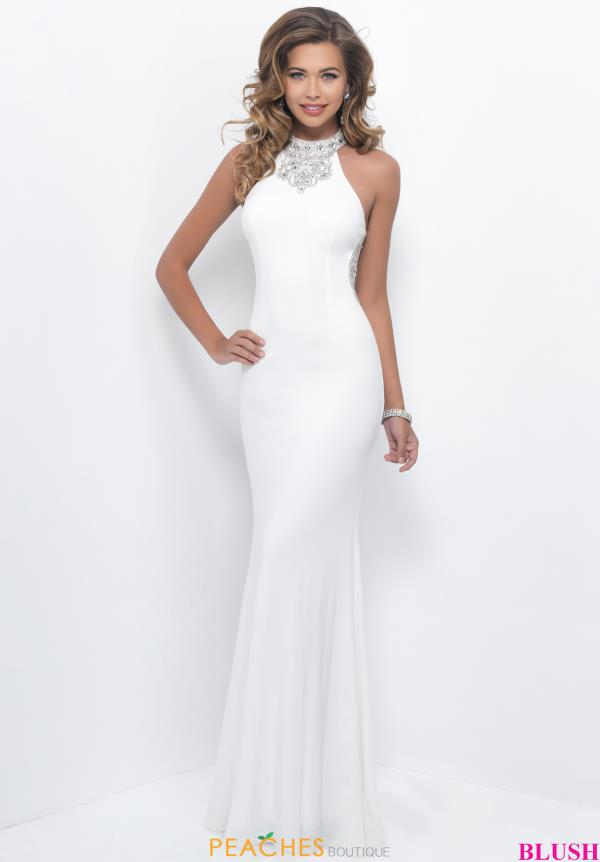 Beaded White Blush High Halter Dress 11307