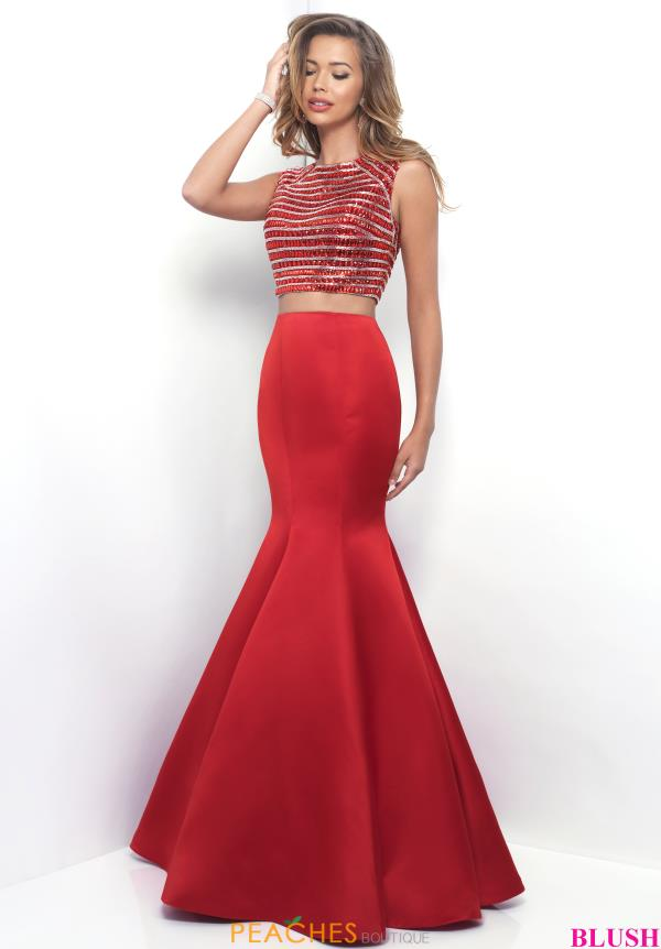 Blush Beaded Mermaid Dress 11321