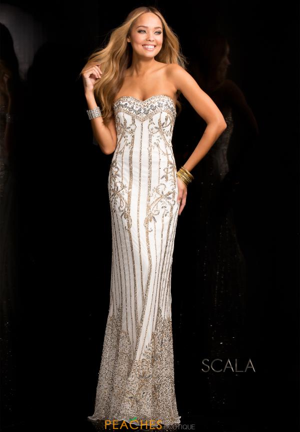 Strapless Beaded Scala Dress 48685
