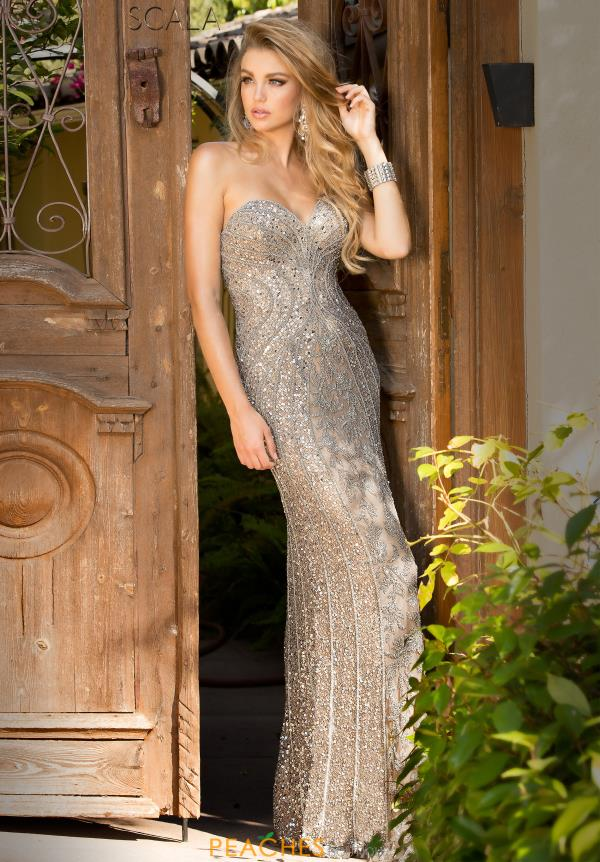 Strapless Beaded Scala Dress 48707