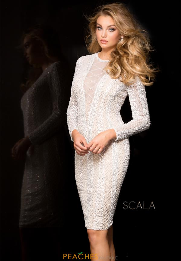 Long Sleeved Fitted Scala Dress 48728ML