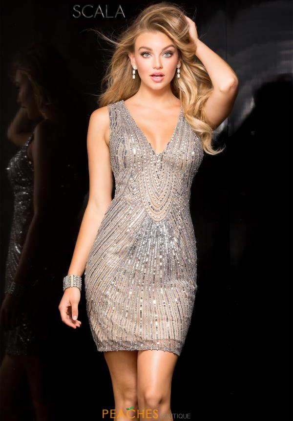 Scala V- Neckline Beaded Dress 48734