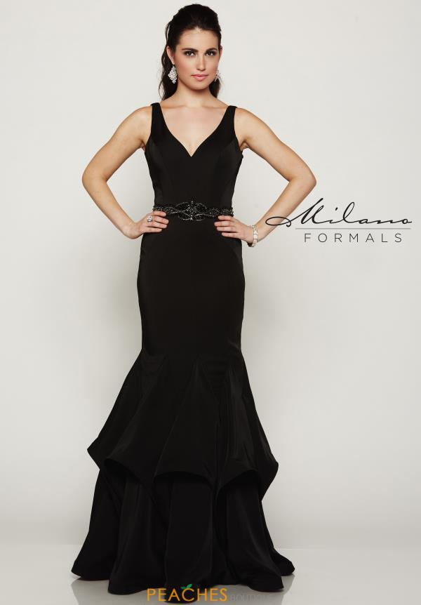 Fitted Black Milano Formals Dress E2064
