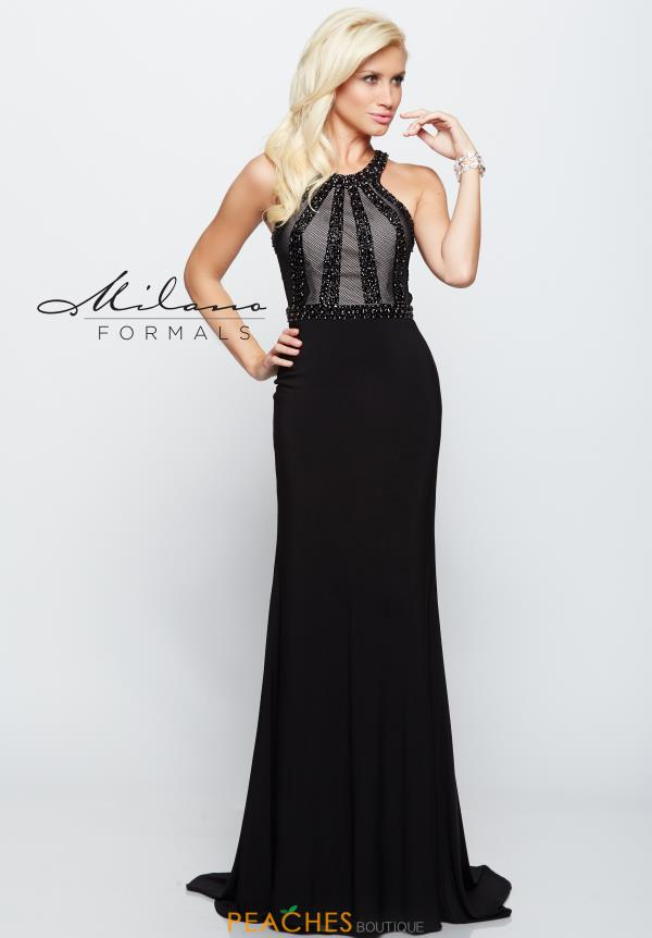 Milano Formals Black Fitted Dress E2098