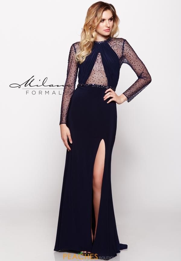 Milano Formals Long Sleeved Beaded Dress E2100