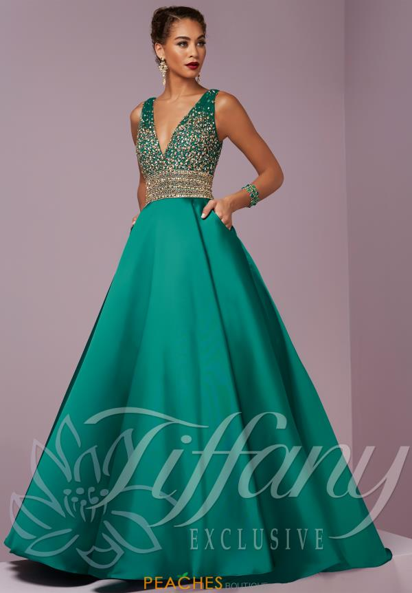 Tiffany V- Neckline Beaded Dress 46076