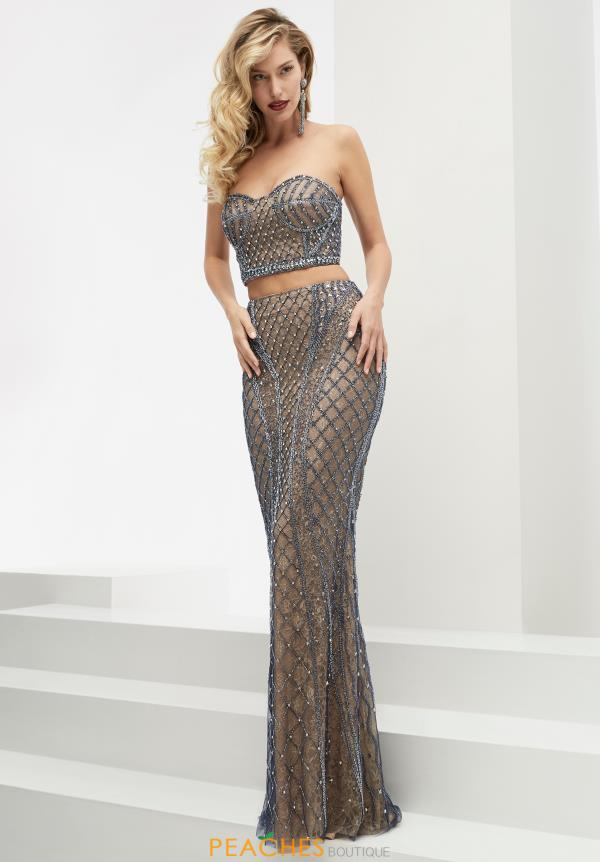 Two Piece Beaded Jasz Couture Dress 5930