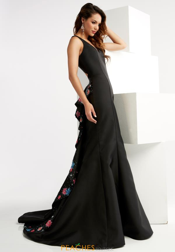 Black Fitted Jasz Couture Dress 5936