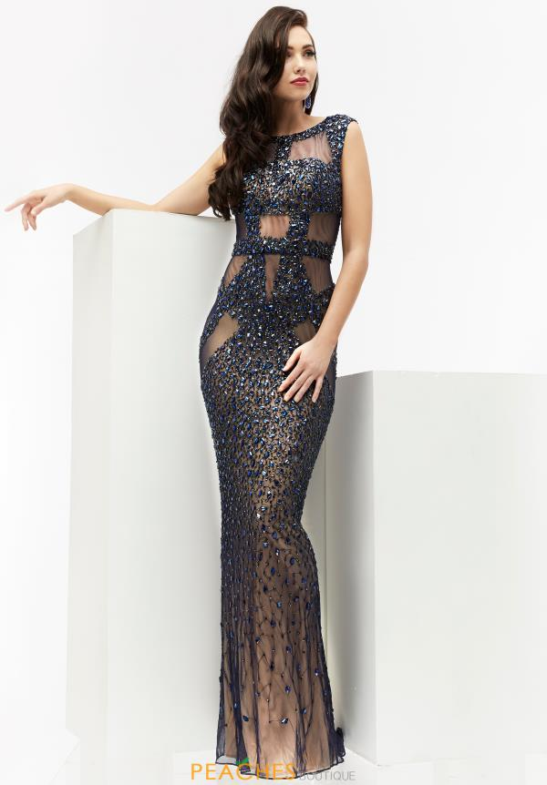Beaded Long Jasz Couture Dress 5950