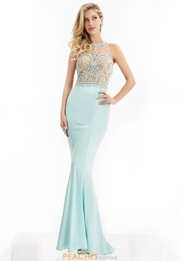 Jasz Couture Beaded High Neckline Dress 6005