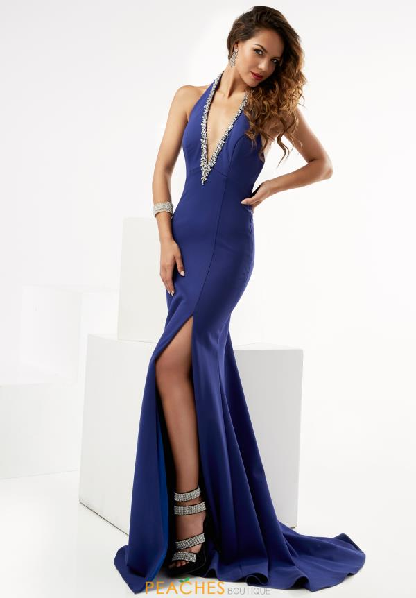 Jasz Couture V- Neckline Fitted Dress 6015