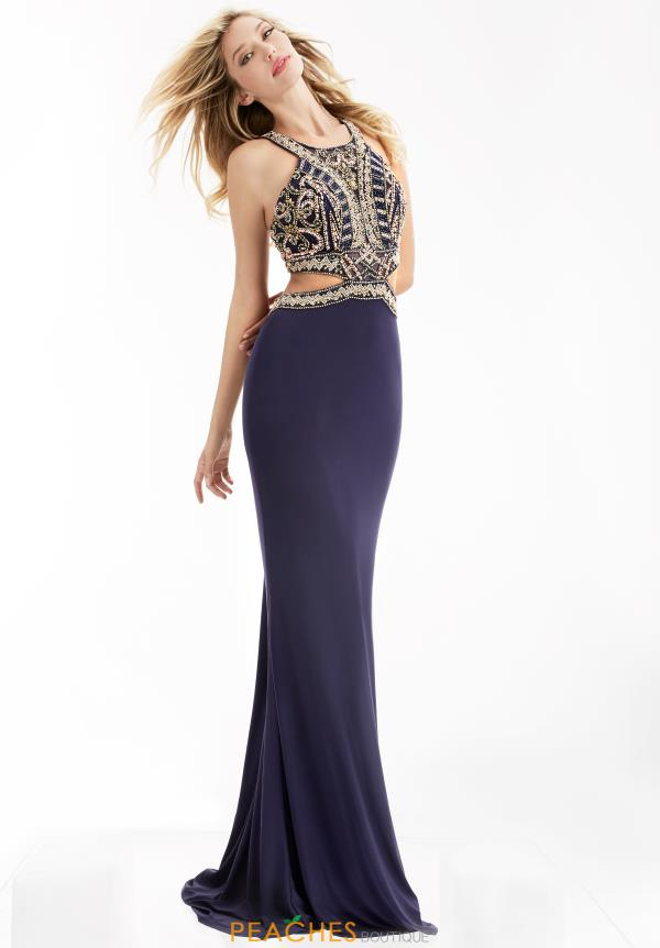 Jasz Couture Fitted Navy Dress 6058