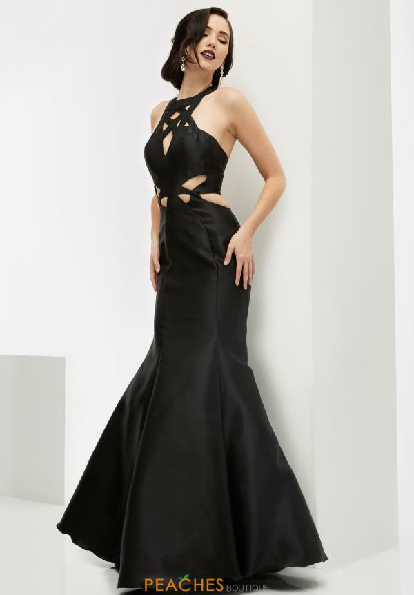 Black Fitted Jasz Couture Dress 6064