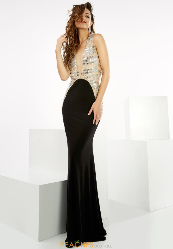 Jasz Couture Black Fitted Dress 6065