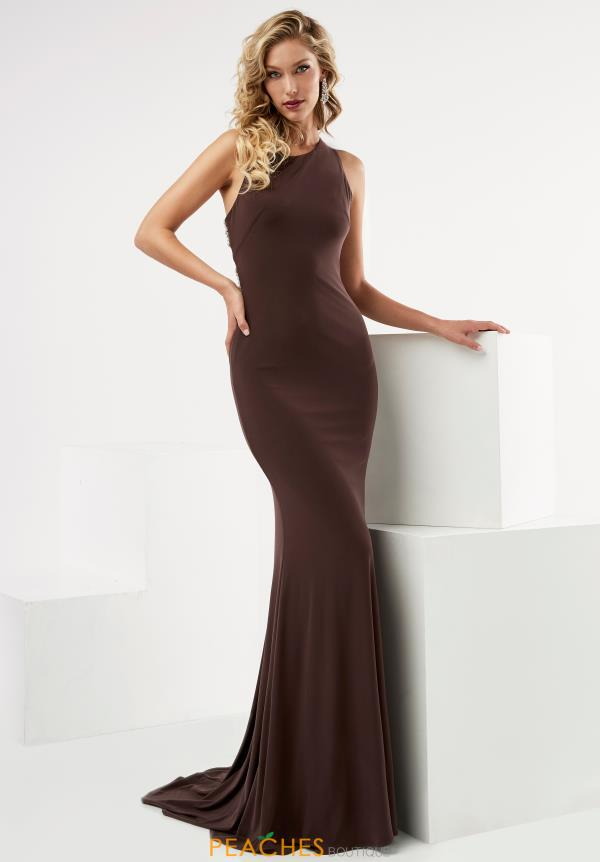 Jasz Couture High Neckline Fitted Dress 6097