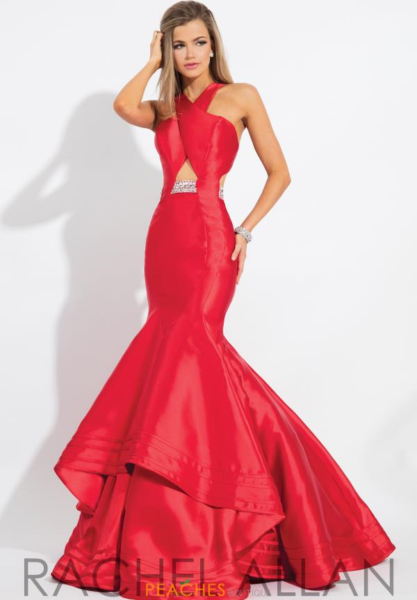 Rachel Allan Mermaid Red Beaded Dress 7593