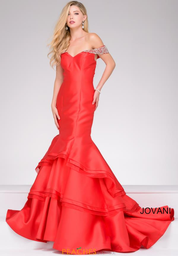 Jovani Cap Sleeved Mermaid Dress 46610