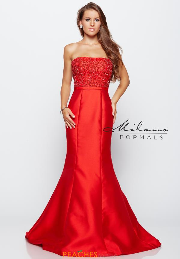 Strapless Red Milano Formals Dress E1985