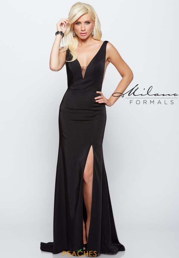 Milano Formals V- Neckline Black Dress E2044