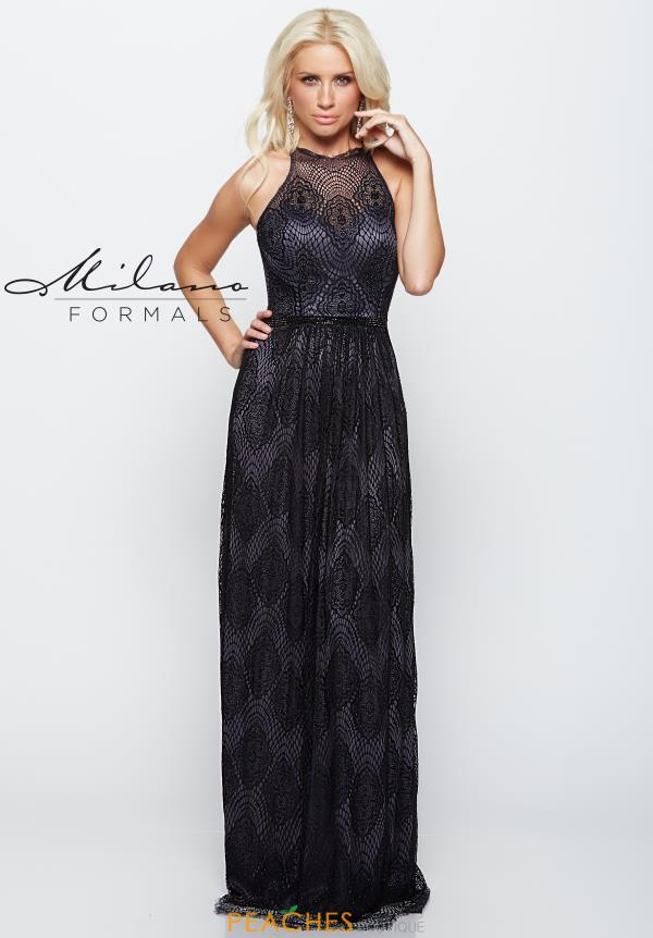 Milano Formals Fitted Black Dress E2072