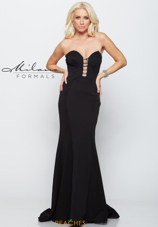 Strapless Black Milano Formals Dress E2102