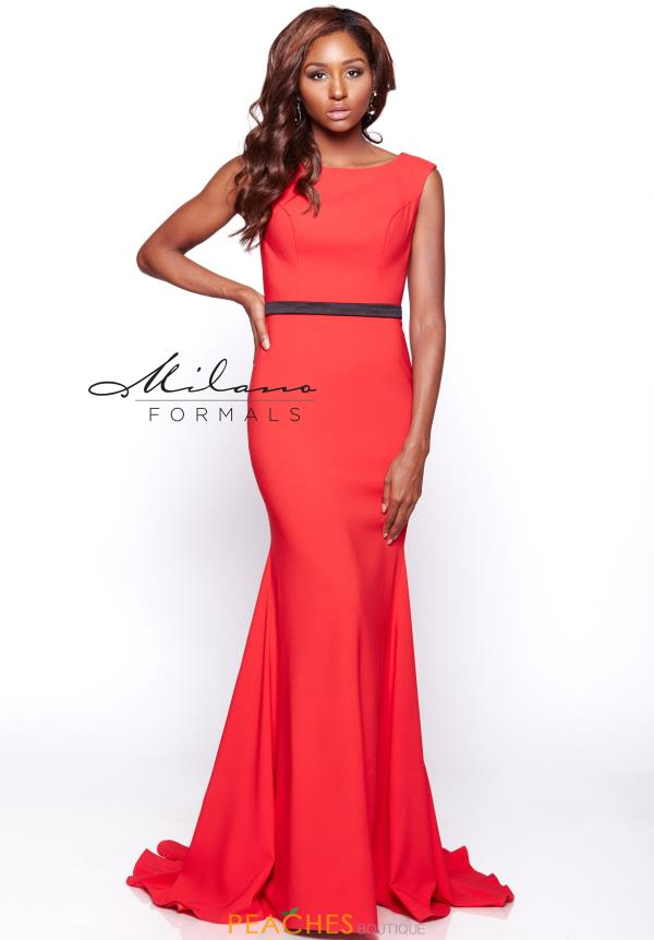 Milano Formals Red Fitted ress E2109