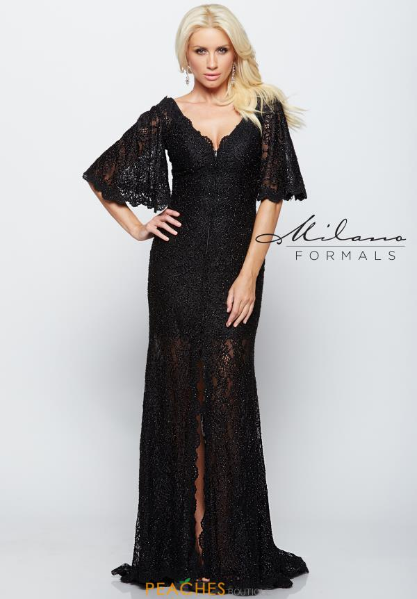 Milano Formals Long Black Dress E2110