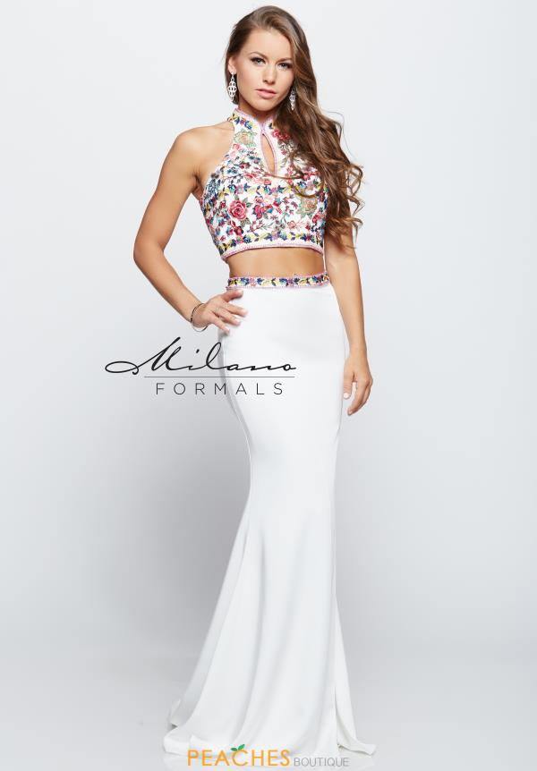 White Fitted Milano Formals Dress E2116