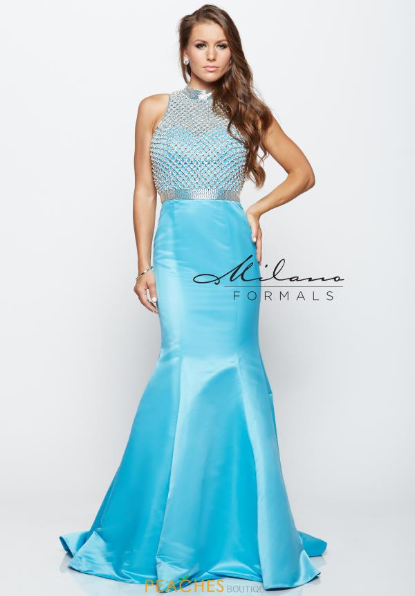 Milano Formals Blue Fitted Dress E2140