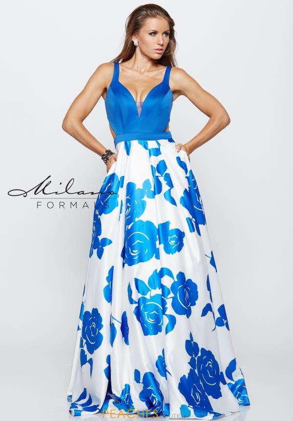 Milano Formals Royal Print Dress E2159