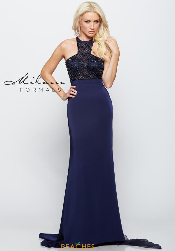 Milano Formals Navy Fitted Dress E2174